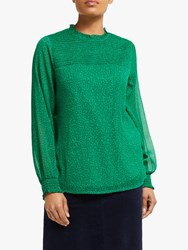 John Lewis Collection Weekend By Heart Print Smock Detail Top Green