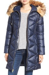 Guess Women's Quilted Puffer Coat With Faux Fur Trim Indigo