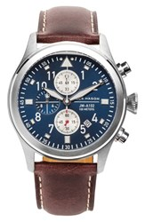 Jack Mason Brand Men's Chronograph Leather Strap Watch 42Mm Brown Navy