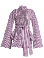 Teija Cut Out Cotton Gingham Wrap Top Purple White