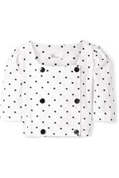 Lisa Marie Fernandez Diana Double Breasted Embroidered Polka Dot Linen Top White Gbp