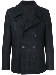 Cerruti 1881 Double Breasted Coat Cotton Polyamide Polyester Wool Blue