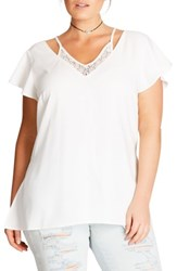 City Chic Plus Size Women's Lace Inset Top Ivory