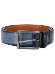 Santoni Croc Effect Belt Men Leather 100 Blue