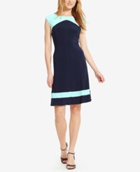 American Living Colorblocked Cap Sleeve Dress Navy Mint
