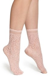 Women's Oroblu 'Calzino Pleasant' Lace Effect Tulle Ankle Socks Pink Peony