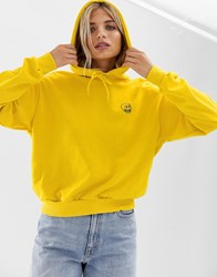 Cheap Monday Organic Cotton Cropped Hoodie With Skull Logo Yellow