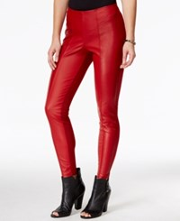 Guess Faux Leather Snake Detail Leggings Lacquer Red