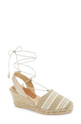 Patricia Green Women's Tessa Ankle Wrap Espadrille Wedge Khaki Fabric