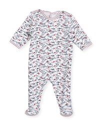 Petit Bateau Back Snap Wave Print Footie Pajamas White