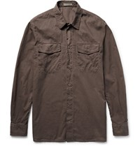 Bottega Veneta Garment Dyed Cotton Shirt Dark Gray