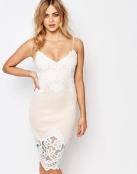 Lipsy Cami Slip Midi Dress With Lace Detail Nude Pink