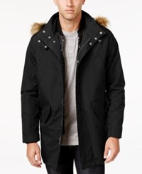 Cole Haan Men's 3 In 1 Lightweight Anorak With Faux Fur Removable Hood Black