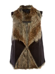 Andrew Marc New York Shearling Waterfall Gilet Black