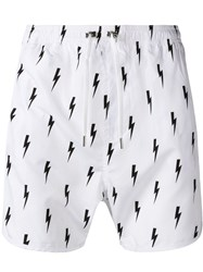 Neil Barrett Lightning Print Swimshorts White