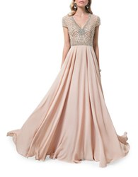 Glamour By Terani Couture V Neck Beaded Gown Champagne