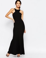 Club L Racer Front Maxi Dress In Crepe Black