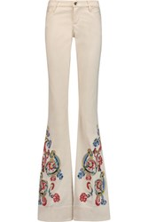 Alice Olivia Ryley Embroidered Mid Rise Bootcut Jeans Off White
