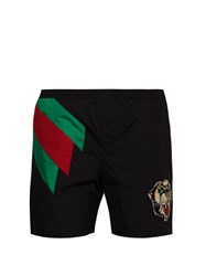 Gucci Web Striped And Tiger Head Swimshorts Black Multi