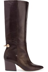 Tibi Rowan Embellished Leather Knee Boots Dark Brown