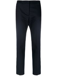 Msgm Cropped Trousers Polyester Spandex Elastane Virgin Wool Blue