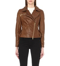 Karen Millen Leather Biker Jacket Tan