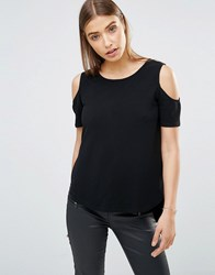 Ax Paris Cut Out Shoulder Dipped Hem Top Black