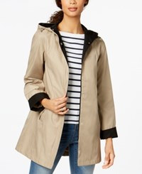Jones New York Hooded Colorblocked Raincoat Beach Tan Black