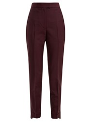 Acne Studios Tailored Wool Blend Trousers Burgundy