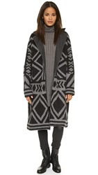 Free People Bold Geo Sweater Coat Black Grey Combo