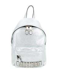 Moschino Metallic Leather Backpack Silver