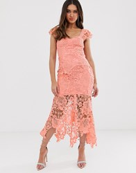 Love Triangle Sweetheart Neck Lace Dress With Cupped Top In Soft Coral Orange