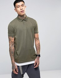 Asos Longline Polo Shirt With Hem Extender In Green And White Toad White Multi