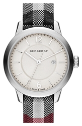 Burberry Check Strap Watch 32Mm Stone Black Silver