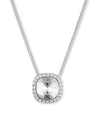 Givenchy Glass Stone Cushion Set Pendant Necklace Silver