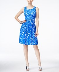 Ronni Nicole Sleeveless Lace Fit And Flare Dress Blue White
