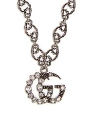 Gucci Gg Logo Small Pendant Necklace Crystal