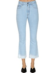 Attico Mid Rise Washed Cropped Denim Jeans Light Blue