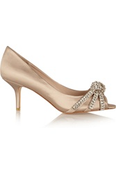 Lucy Choi London Star Moonstone Crystal Embellished Satin Pumps