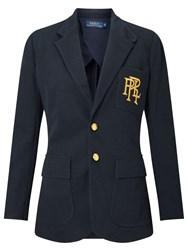 Ralph Lauren Polo Knit Cotton Blazer Aviator Navy