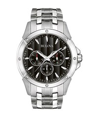 Bulova Mens Stainless Steel Dress Watch With Black Dial Silver