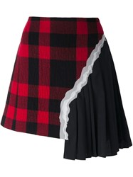Maison Martin Margiela Plaid Pleated Asymmetric Skirt Black