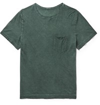 Massimo Alba Maimo Panarea Lim Fit Garment Dyed Cotton Jerey T Hirt Dark Green