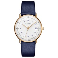 Junghans 047 7851.00 Women's Max Bill Date Leather Strap Watch Blue White