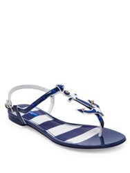 Dolce And Gabbana Anchor Leather Thong Sandals