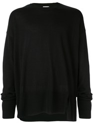 Wooyoungmi Side Slit Oversized Sweater Black