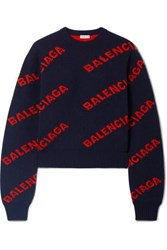 Balenciaga Cropped Intarsia Wool Blend Sweater Navy