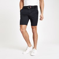 River Island Navy Belted Slim Fit Chino Shorts
