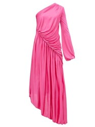 Halpern Asymmetric Gathered Dress Pink