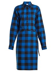 Vetements Tie Waist Checked Cotton Flannel Shirtdress Black Blue